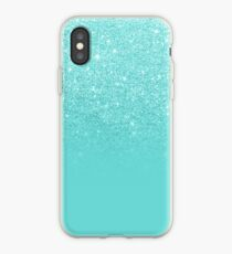 Girly faux glitter ombre teal color block iPhone Case