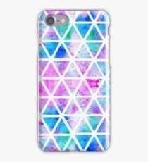 Modern pink blue watercolor geometric triangles iPhone Case/Skin