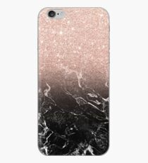 Moderner Roségold ombre schwarzer Marmor Farbblock iPhone-Hülle & Cover