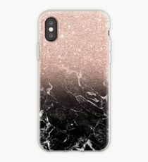 Modern rose gold ombre black marble color block  iPhone Case