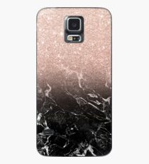 Modern rose gold ombre black marble color block  Case/Skin for Samsung Galaxy