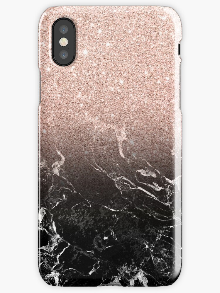 Black Gold Marble Blocks : Quot modern rose gold ombre black marble color block iphone