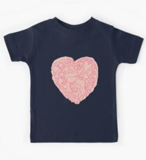 Hand drawn cute lovely couples Kids Tee