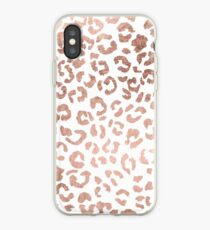 Luxurious hand drawn rose gold leopard print iPhone Case
