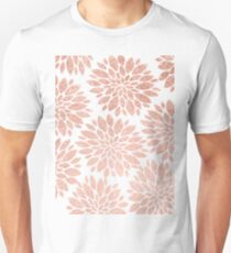 Modern rose gold geometric floral abstract Unisex T-Shirt