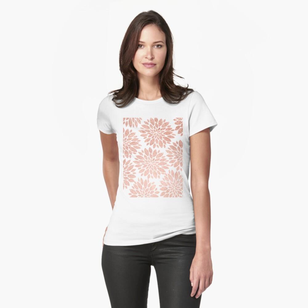 Modernes rosafarbenes Goldgeometrische Blumenzusammenfassung Tailliertes T-Shirt