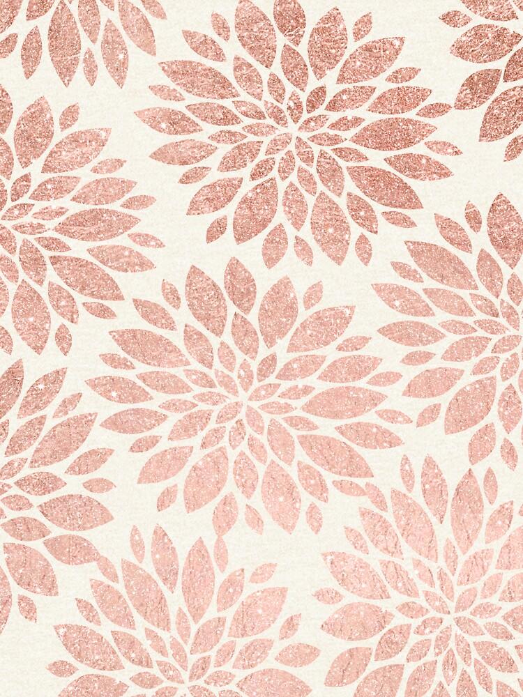 Modernes rosafarbenes Goldgeometrische Blumenzusammenfassung von GirlyTrend