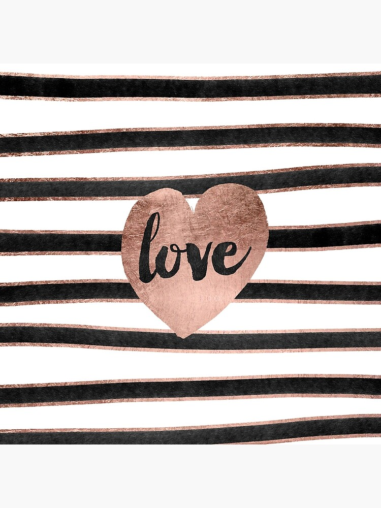 Modern love typography rose gold hearts stripes  by GirlyTrend