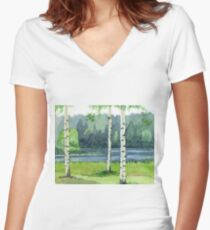 Birch forest Women's Fitted V-Neck T-Shirt