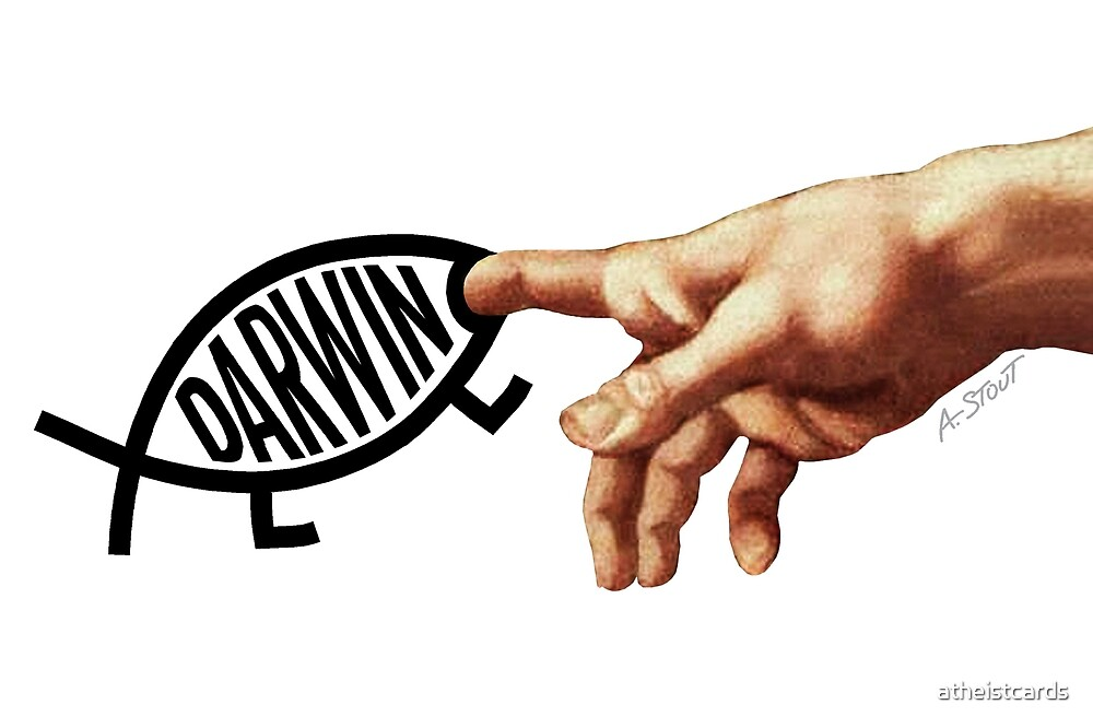 Darwin Bites Creator's Finger (Light Backgrounds) by atheistcards