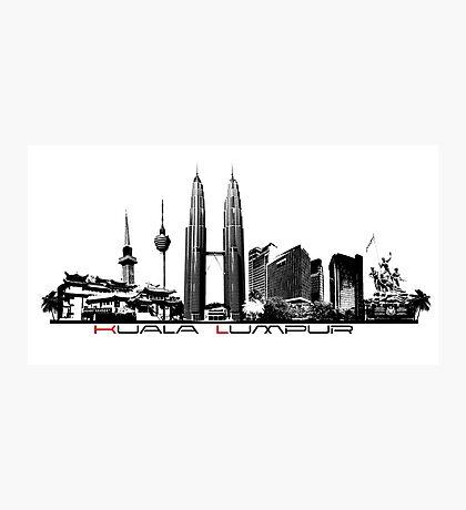 Kuala Lumpur skyline black Photographic Print