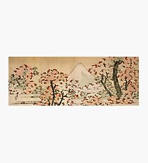 'Mount Fuji Behind Cherry Tree and Flowers' by Katsushika Hokusai (Reproduction) Photographic Print