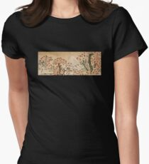 'Mount Fuji Behind Cherry Tree and Flowers' by Katsushika Hokusai (Reproduction) Womens Fitted T-Shirt