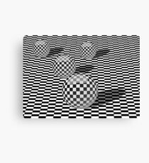 Black and white illustration with balls on a chessboard Canvas Print