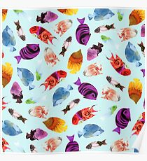 Fish shaped Flowers Poster