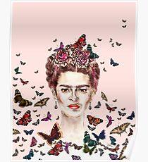 Frida Kahlo Flowers Butterflies Poster