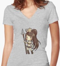Chibi Nidalee Women's Fitted V-Neck T-Shirt