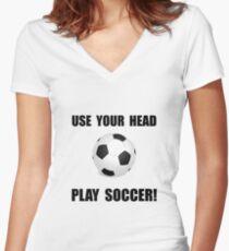 Soccer Head Women's Fitted V-Neck T-Shirt