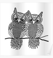Owls in love black Poster