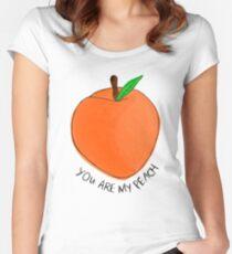Camiseta entallada de cuello ancho melocotón
