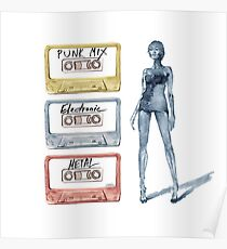 Tape Cassette Music Fashion Vintage Tape Girl legs Colorful Metal Punk Electronic Poster