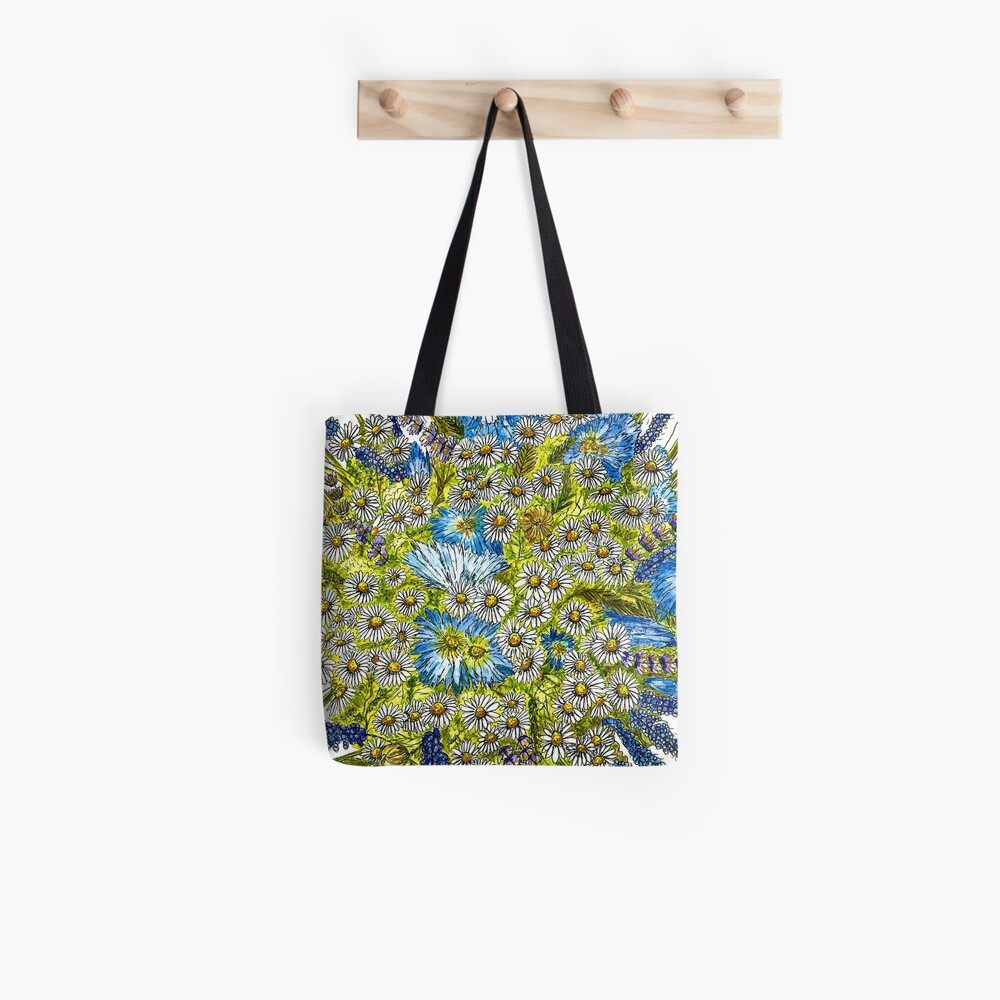 Daisies and Corn Flowers Tote Bag