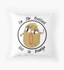 I'm The Prettiest Girl in Brooklyn (BLACK TEXT) Throw Pillow
