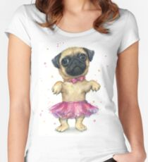 Pug in a Tutu Women's Fitted Scoop T-Shirt
