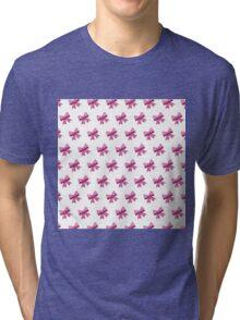 Bow Emoji Pattern White Tri-blend T-Shirt