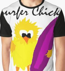 Cool Funny Surfer Chick Cartoon Graphic T-Shirt