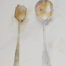 Two Spoons, One wooden One silver. by Peter Lusby Taylor