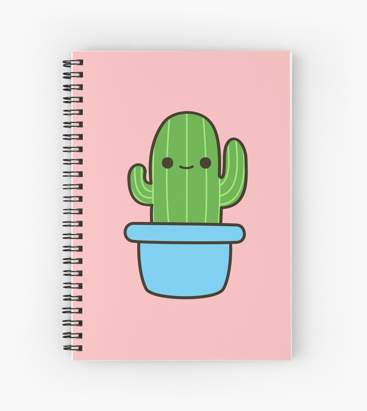"""Cute cactus in blue pot"" Spiral Notebooks by ..."