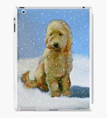 Golden Doodle Dog in Snow: Original Oil Pastel Painting iPad Case/Skin