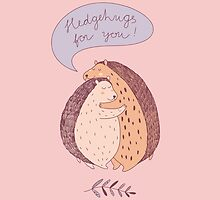 cute drawing with two hugging hedgehogs by NineHomes