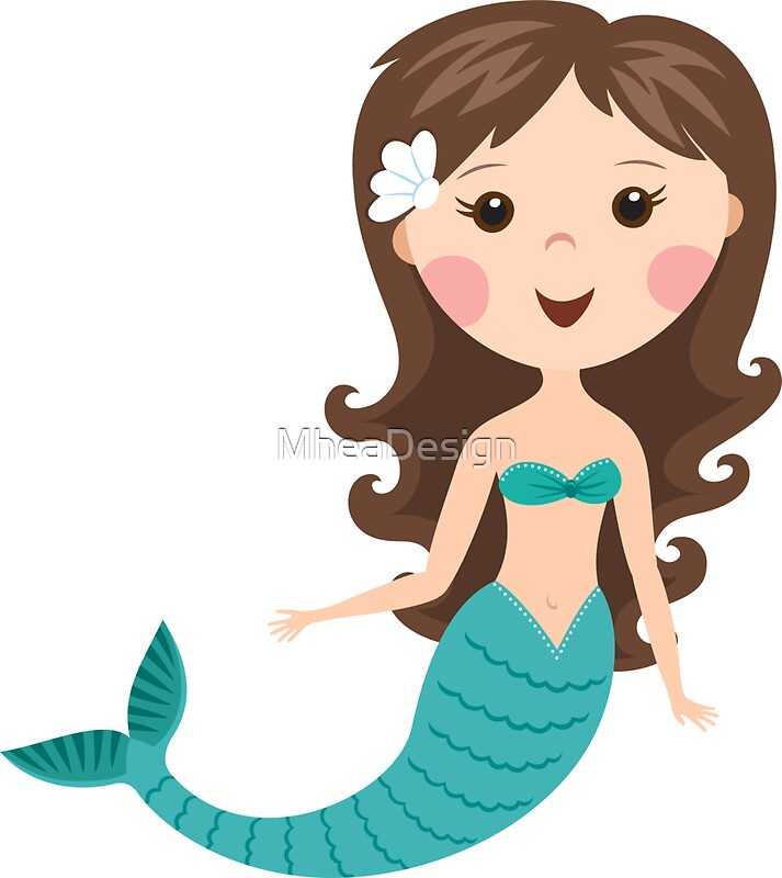 Quot Cute Cartoon Mermaid With Brown Hair Stickers Quot Stickers