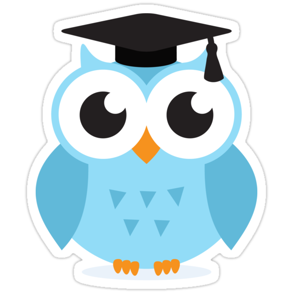 Quot Blue Owl With Mortar Board Hat Cute Cartoon Illustration