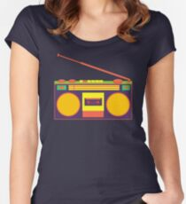 boombox - old cassette - Devices Women's Fitted Scoop T-Shirt