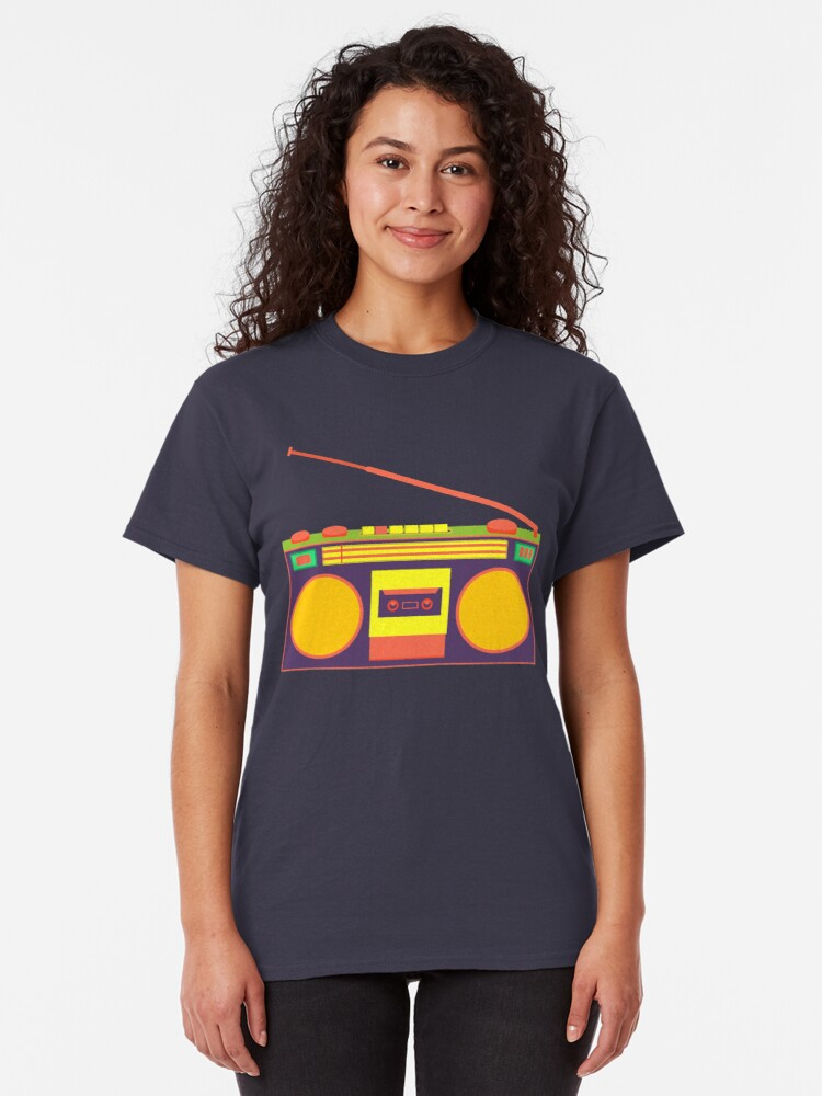 Alternate view of boombox - old cassette - Devices Classic T-Shirt