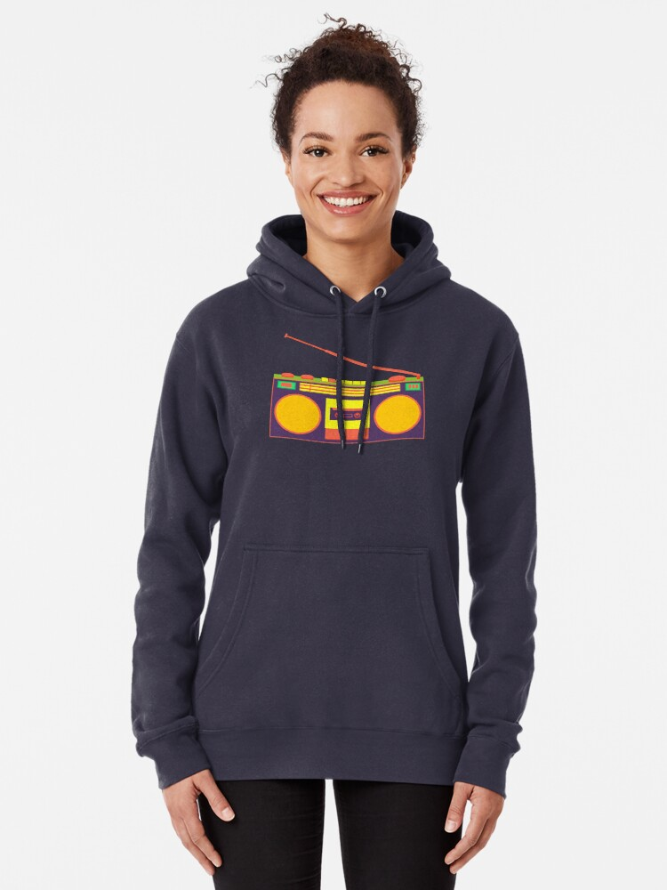 Alternate view of boombox - old cassette - Devices Pullover Hoodie