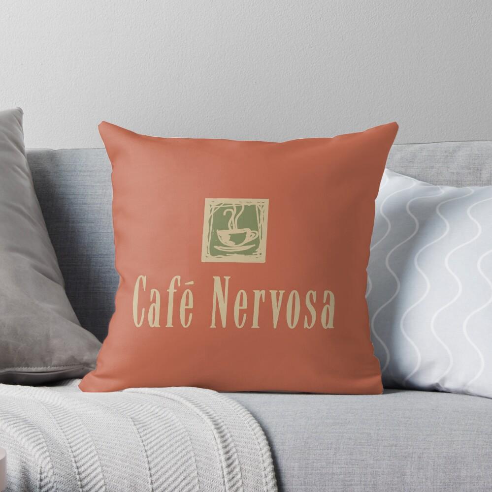 Cafe Nervosa sign – Frasier, Seattle Throw Pillow