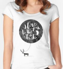 hand drawn cute illustration with a deer, ballon and text Women's Fitted Scoop T-Shirt
