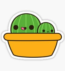 Cute cactus in yellow pot Sticker