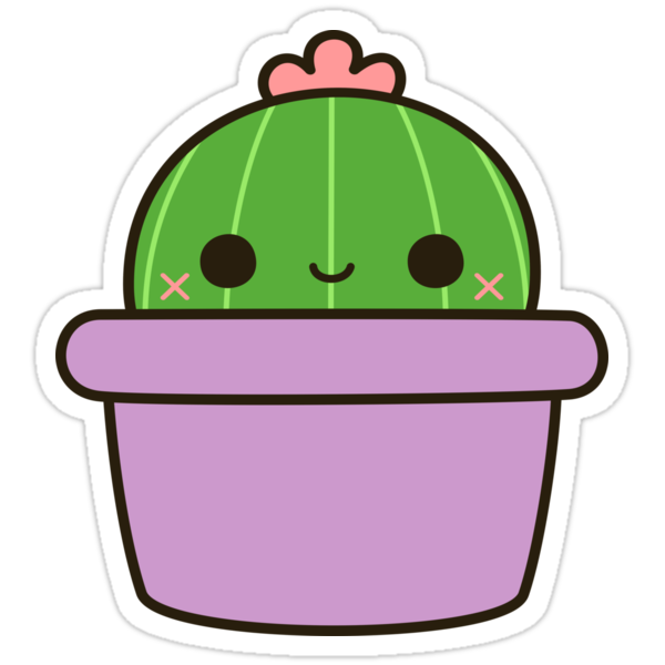"""Cute cactus in purple pot"" Stickers by peppermintpopuk ..."