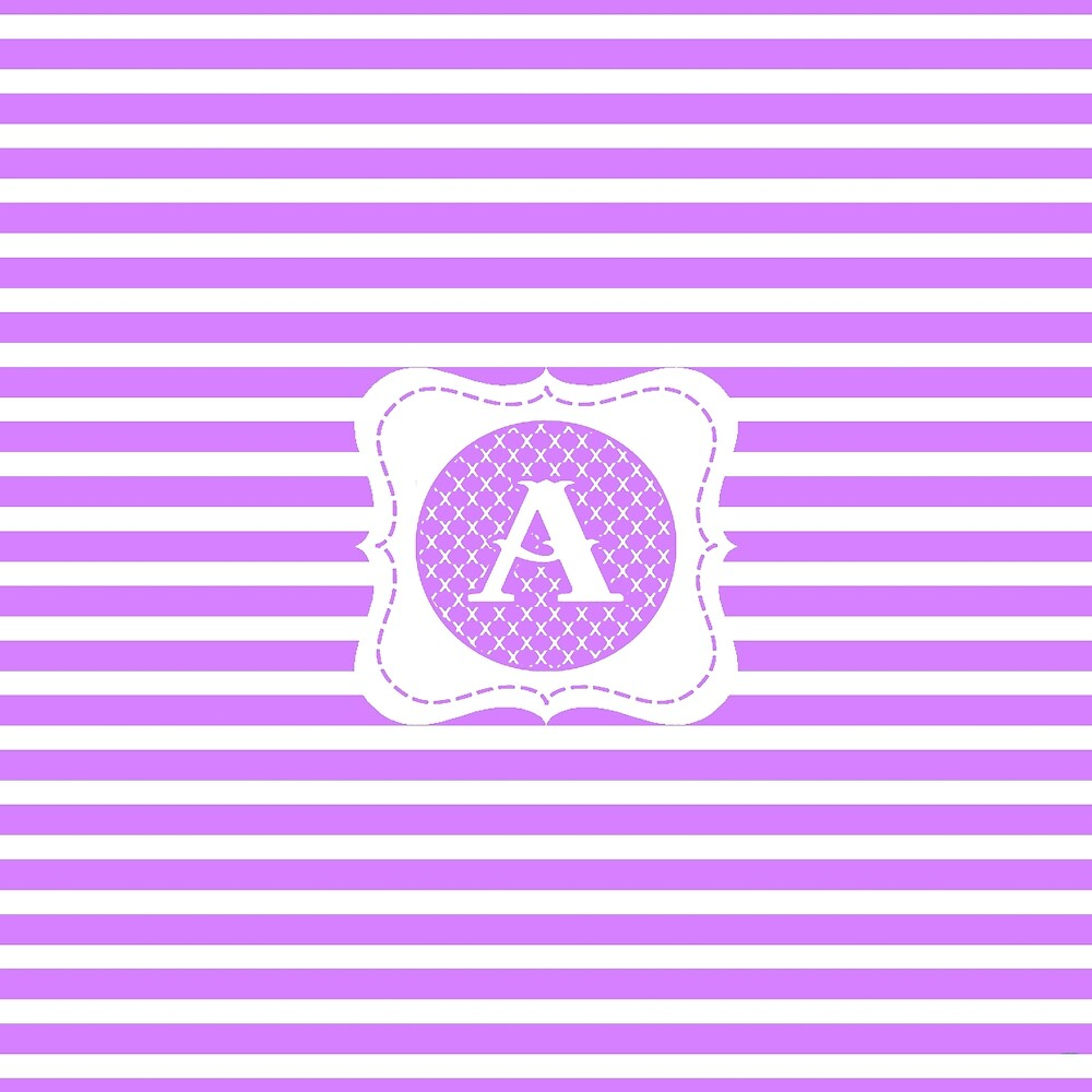 Purple Striped Letter A by MonogramMonkey