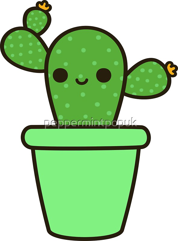 Cute cactus in green pot