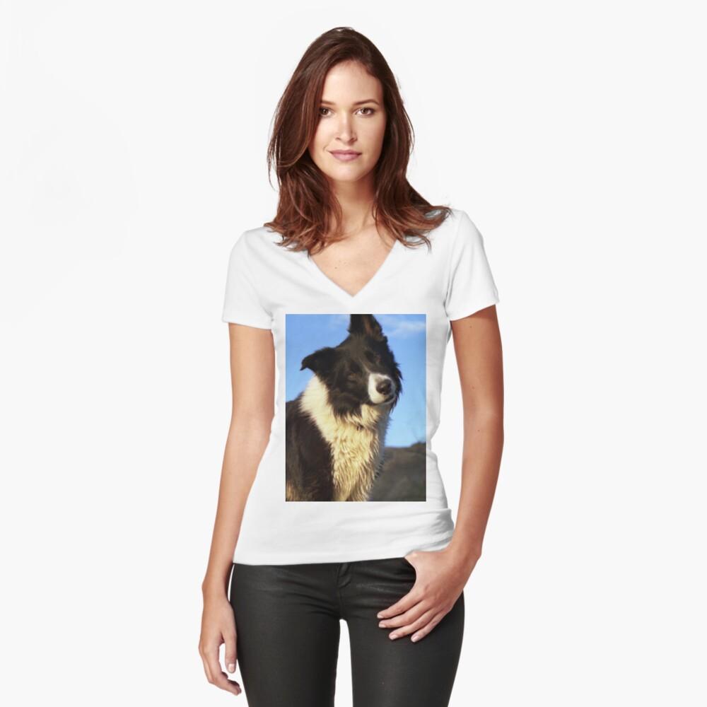 """Time for the head Tilt"" Women's Fitted V-Neck T-Shirt Front"