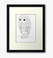 Little Owl - black ink Framed Print