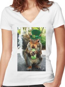 drunk squirrel Women's Fitted V-Neck T-Shirt