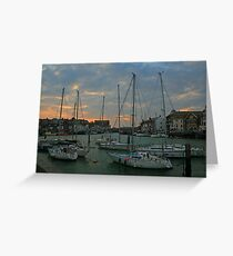 Weymouth Harbour at Dusk Greeting Card