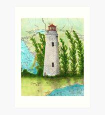 Christian Island Lighthouse Ontario CAN Nautical Chart Cathy Peek Art Print